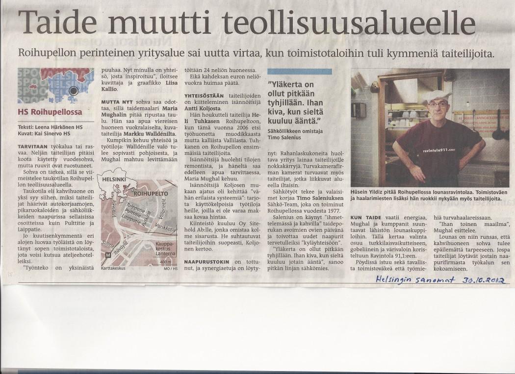 lehtijuttu_helsingin sanomat 30.10.2012